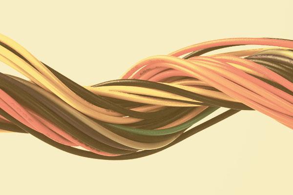verschiedene Kabel zusammengewickelt